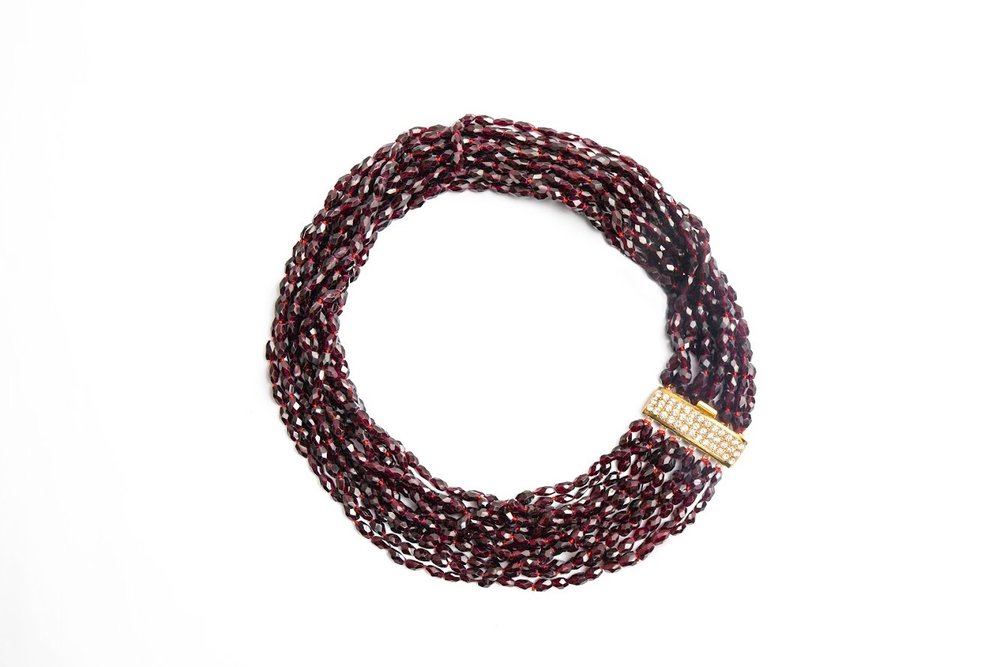 Jet Couture Jewels Garnet Necklace, Kansas City Jewelry Shopping