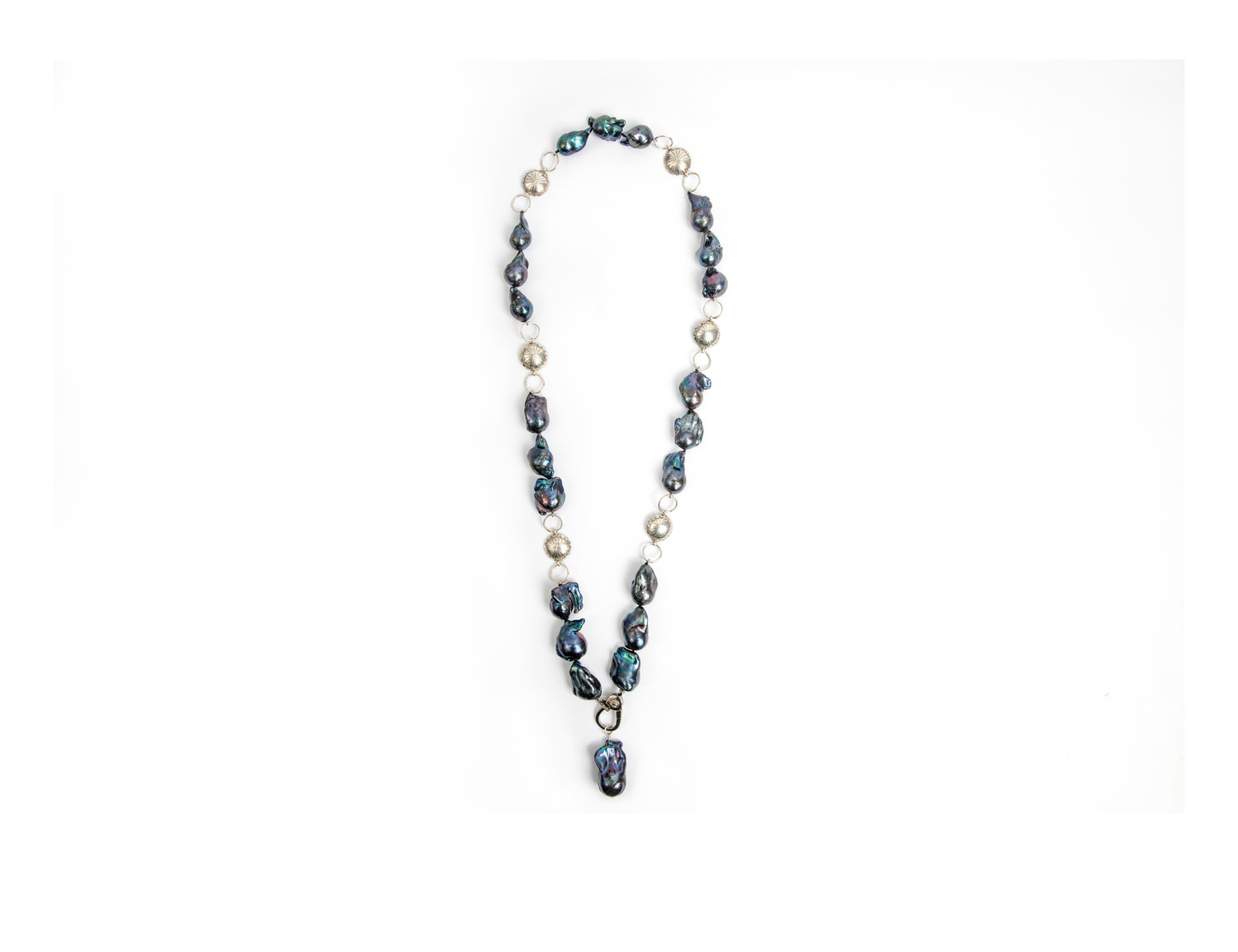 Baroque Pearl And Silver Concho Link Necklace Jet Couture Jewels