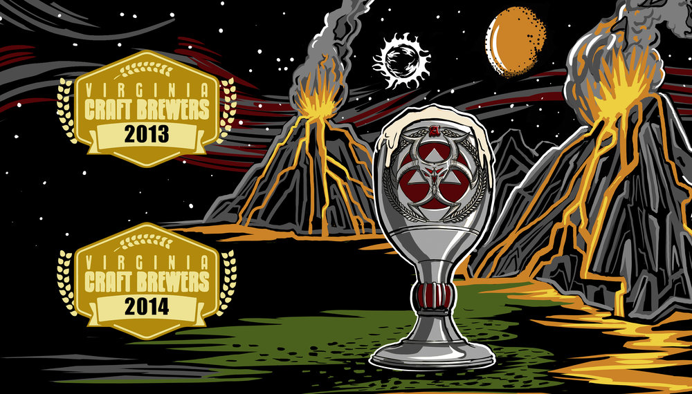 A rich sweet chocolate stout fermented with cacao nibs to enhance the rich chocolate presence.  Nose includes chocolate, hints of orange, toffee and coffee.   Gold Medal 2013 VA Craft Brewers Cup. Gold Medal 2014 VA Craft Brewews Festival