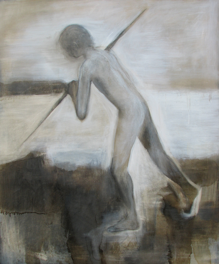 Spear, oil and tar on canvas