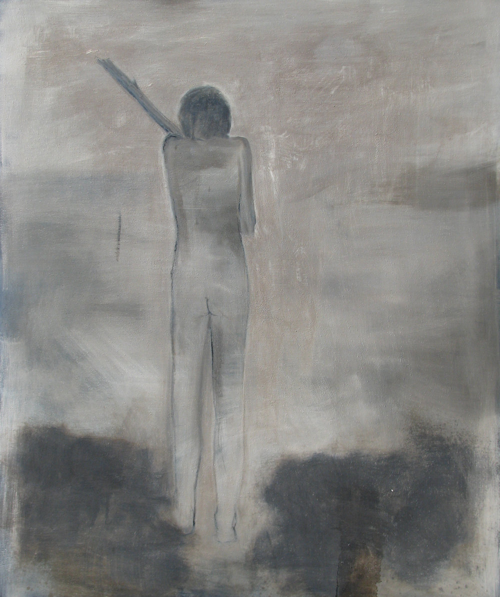 The Stick, oil and tar on canvas