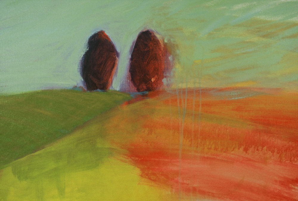 Two Trees, acrylic on canvas