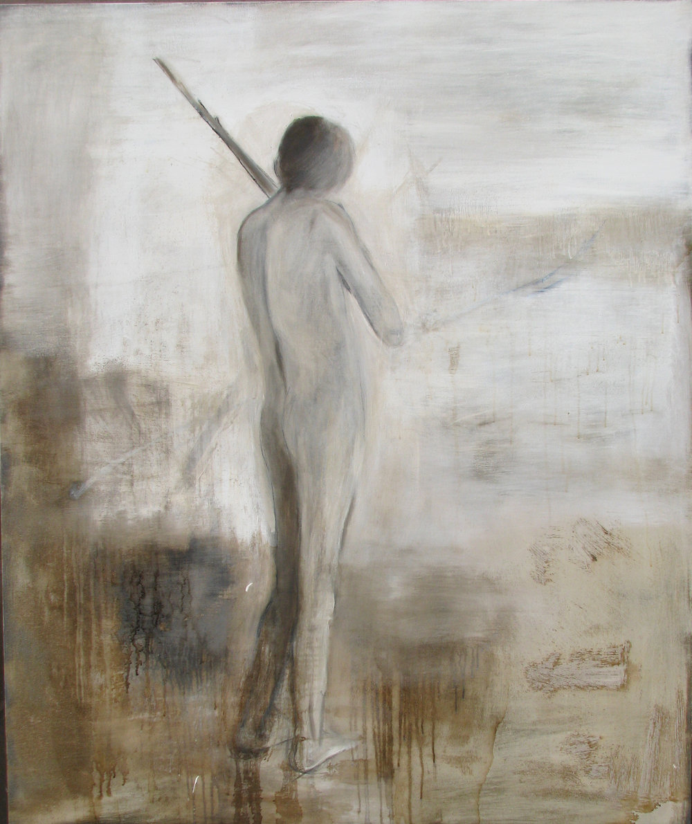Boy Shooting, oil and tar on canvas