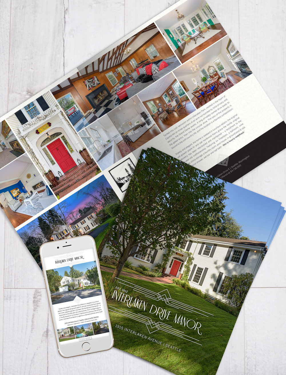 Vertical brochure and email campaign for Interlaken Drive Manor, Seattle