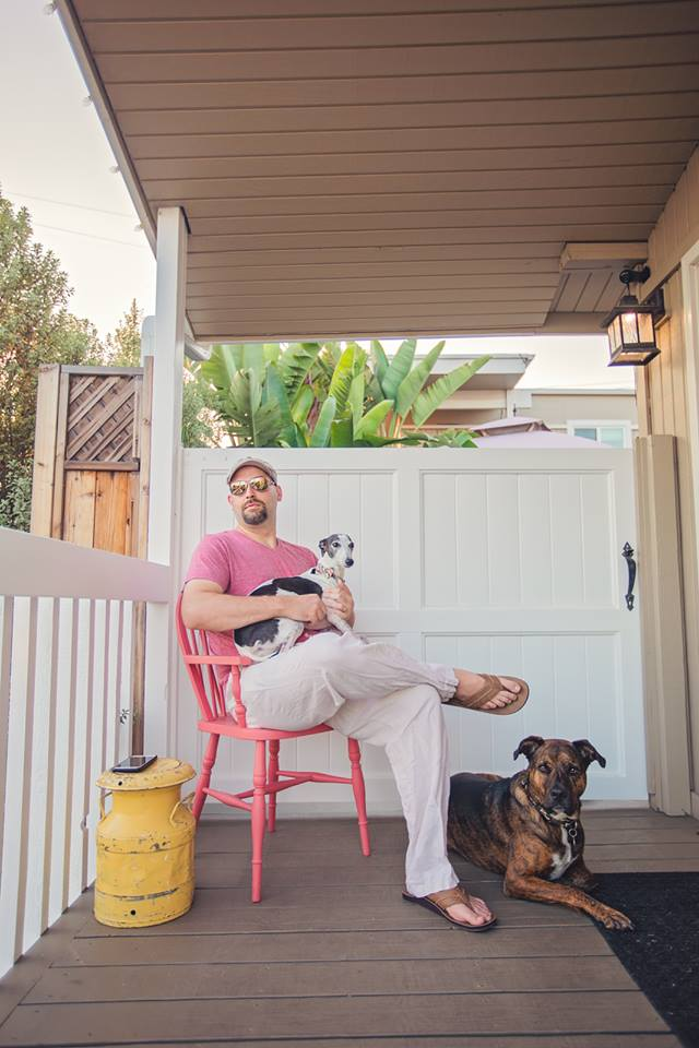 My best friend's husband Sam pictured on the chair, his true love, Luna on his lap and guard dog, Xollin.