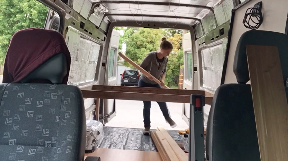 Getting the floating bed frame in the van