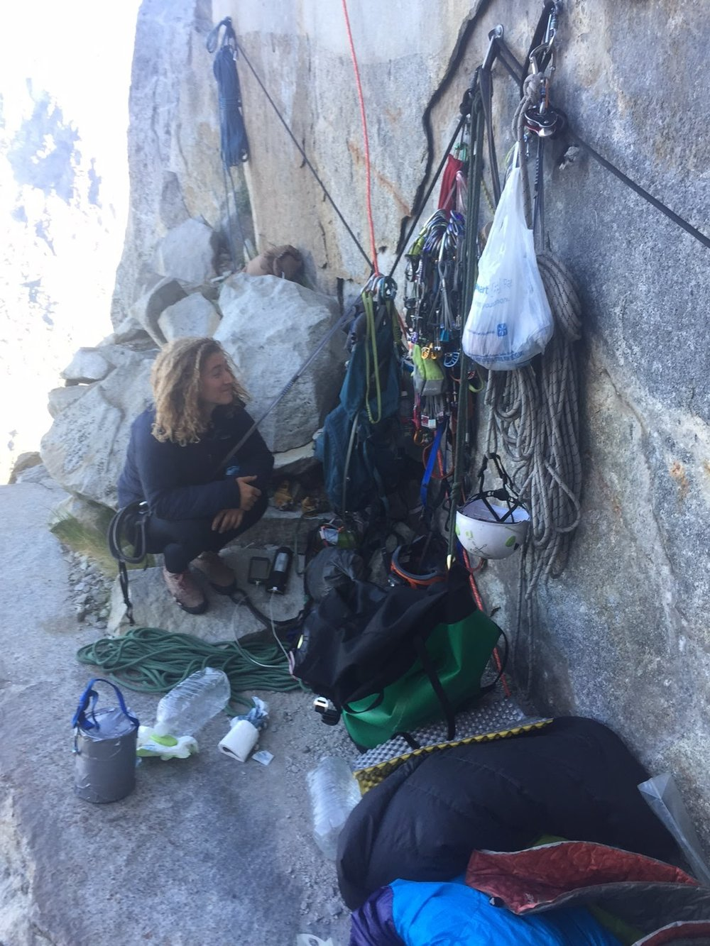 Me, on Awhanee Ledge on the Leaning Tower in Yosemite. This is how they get the ropes up there.