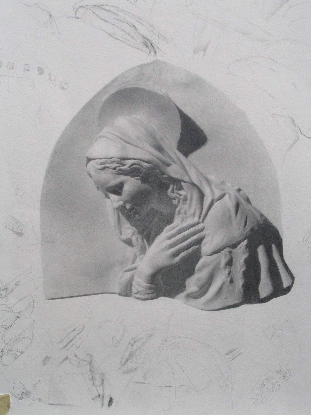 Madonna  22x20  graphite on paper 2007