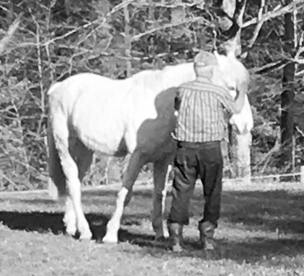 Grandpa (Del) - Grandpa grew up in North Dakota with fond memories of driving teams to work the land. Grandpa always has a treat in his pocket and takes great pride in knowing each horses' individual personality. Even though Storm was purchased to by Sam's trail riding horse, he has quickly become Grandpa's favorite. You can often find Grandpa and Storm spending quality time together in the pasture.