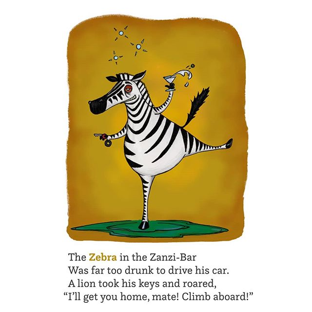 And now we reach the end! Today's letter is Z, from my new book Lizards & Birds & 50-cent Words. Thanks for playing, and watch this space for the book release announcement. ©2019 John McRandle  Follow me to see more things!  #illustration #penandink #digitalart #africa #zebra #lion #wildlife #alphabet #abc #martini