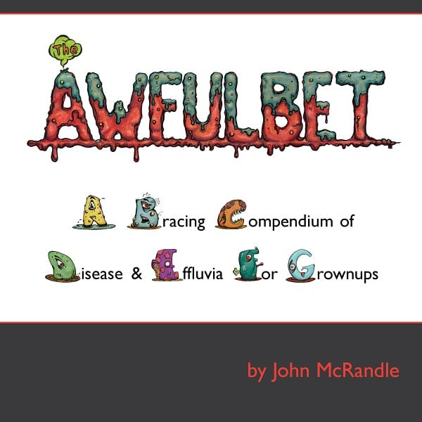 "Hello again, fiends! I have reissued The Awfulbet in softcover! Now you can pick up that fiendishly disturbing tome for the low price of $20. And now through February 28th, Blurb is having a ""buy one, get one for 50% off"" sale, which means you can get The Awfulbet AND my new book, Lizards & Birds & 50-cent Words, if you are so inclined. To read and order these books, please visit awfulbet com.  Thank you!  #awfulbet #alphabet #abc #monsters #disease #humor #illustration #digitalart #penandink"