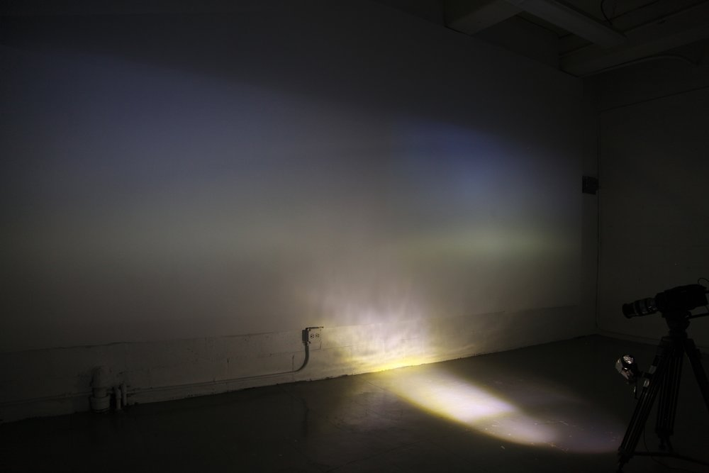 Daybreak, 2014. Mixed media with light, large-sensor camera, live projection, and feedback loop.