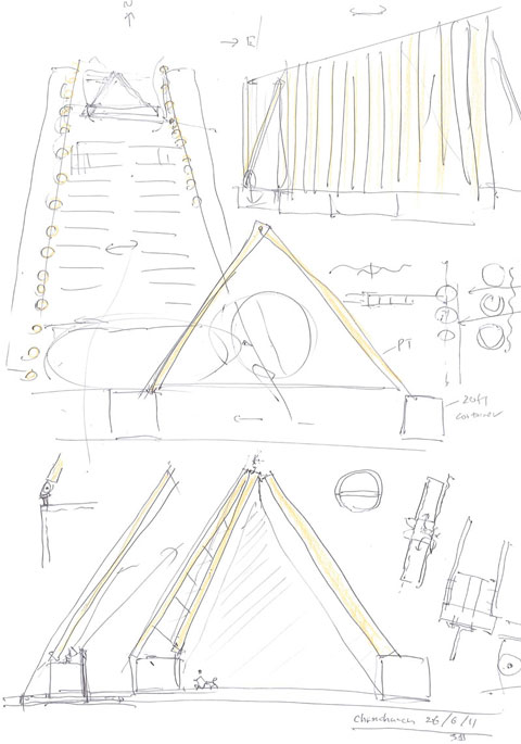 design sketch, Shigeru Ban Architects