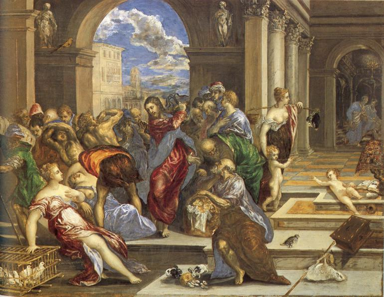 El Greco, Christ Driving the Traders from the Temple, via biblical-art.com