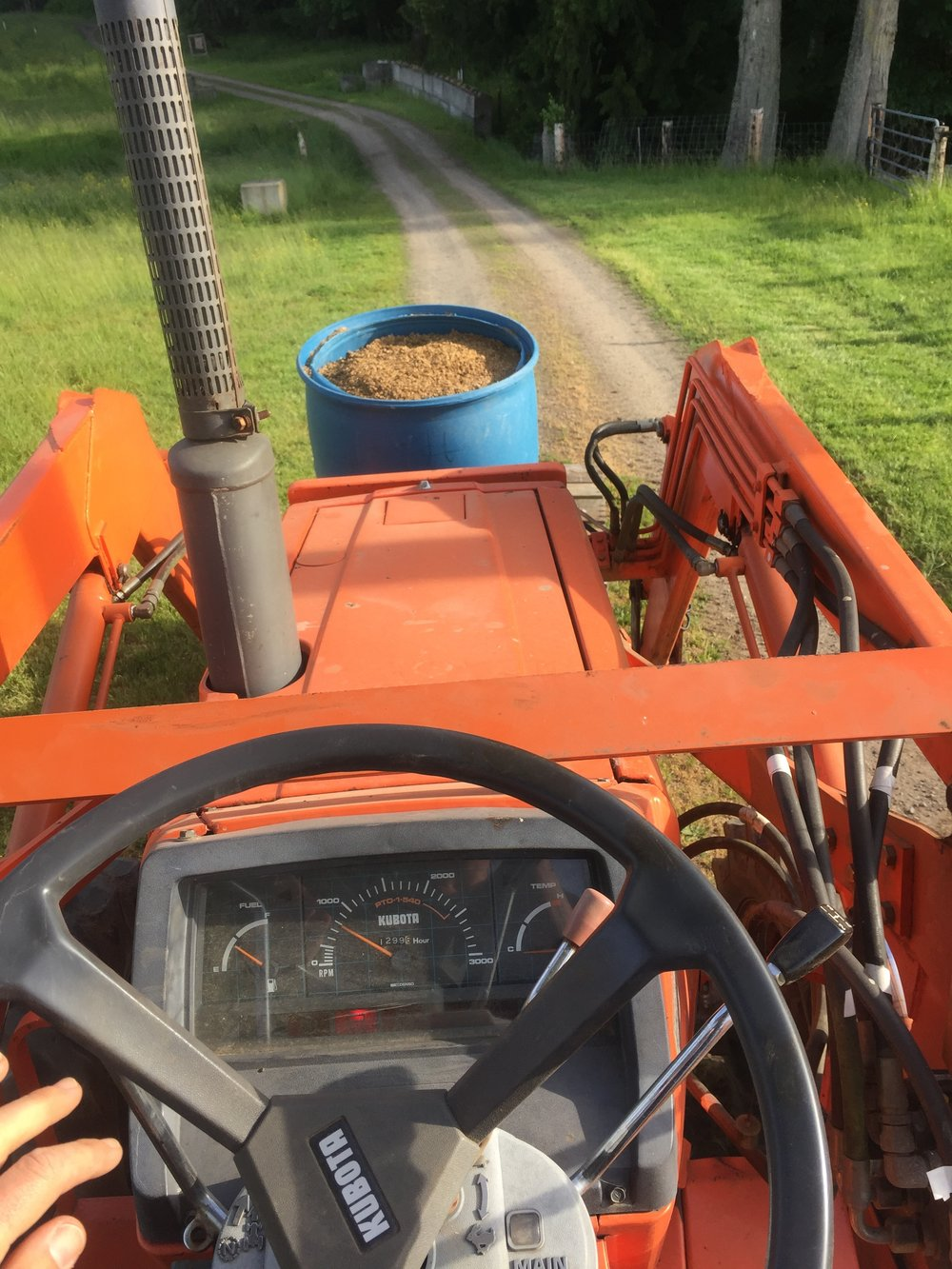 The view from our tractor