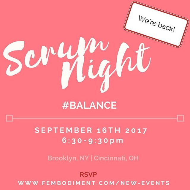 Bring ⚖️B A L A N C E ⚖️back into your life and start a new season feeling #grounded . Come to #Scrum this #Saturday to breathe, break bread, and balance. In Brooklyn and Cincinnati!  #fembodiment #Scrum #September #balance #potluck #womenscircle #supporteachother