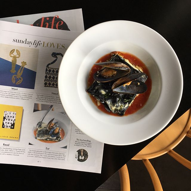 We were pretty chuffed to get a little feature in The Age Sunday life mag last weekend. A big thanks to @bonniesavage Our squid ink lasagna with blue swimmer crab and black mussels is on the menu now🍴
