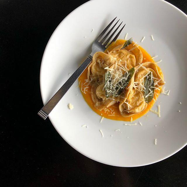 Ricotta & truffle filled tortellini, burnt butter, sage, pumpkin #freshpasta