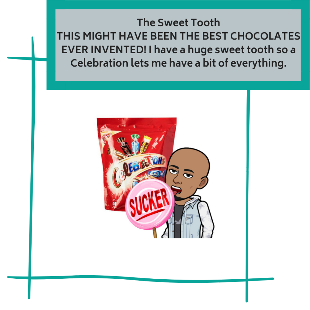 The Sweet ToothTHIS MIGHT HAVE BEEN THE BEST CHOCOLATES EVER INVENTED! I have a huge sweet tooth so a Celebration lets me have a bit of everything..png