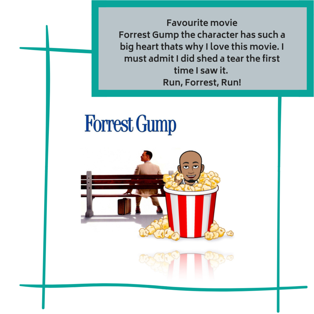 Favourite movie🎥  Forrest Gump the charactor has such a big heart thats why I love this movie. I must admit I did shed a tear the first time I saw it. Run, Forrest, Run!.png