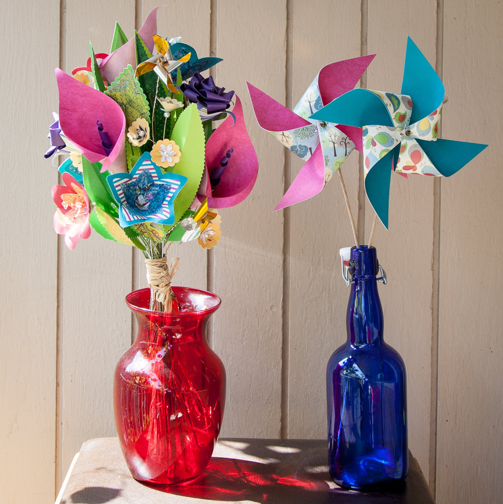 Paper bouquet and pinwheels.