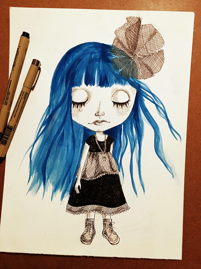 Sad blue girl