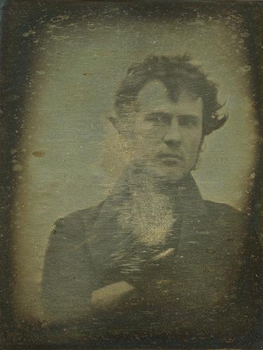 The worlds first 'selfie' of Robert Cornelius taken in 1839. Daguerrotype.