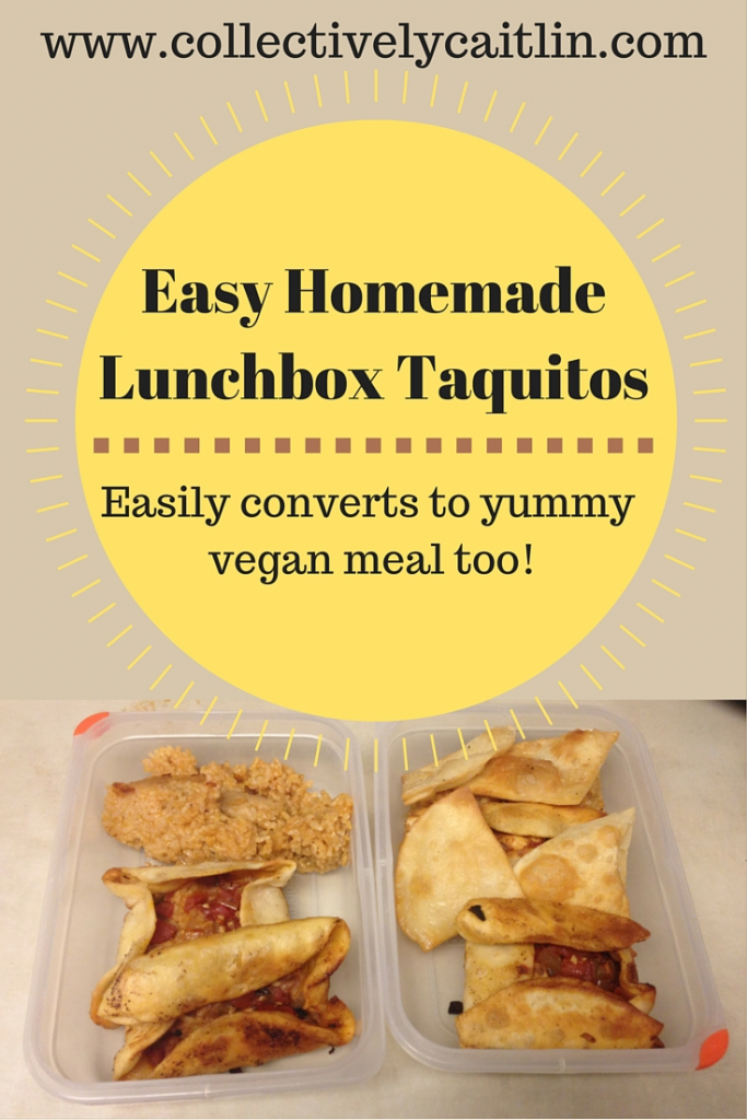 Easy Homemade Lunchbox Taquitos: Vegan and Non-Vegan Recipe. www.collectivelycaitlin.com