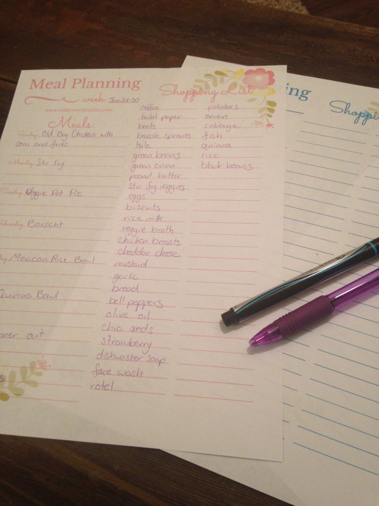 Meal Planning Printable: Collectively Caitlin www.collectivelycaitlin.com