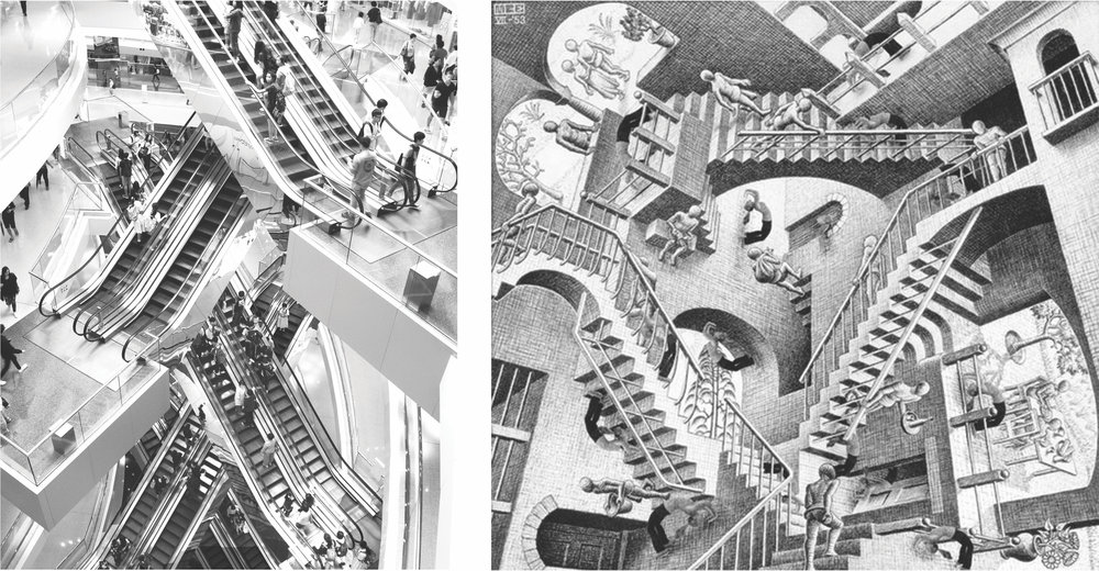 I took this photograph  (left)  in a mall in Hong Kong in the summer of 2016. The juxtaposition of escalators facilitating the circulation flow are reminiscent of  Relativity , the 1953 lithography print by M. C Escher  (right) .