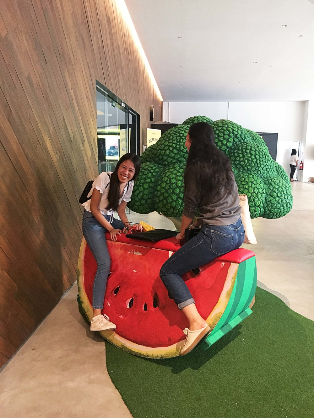 Right outside the exit, this watermelon see saw had our team jump on to give it a try. Brings back memories of picnics and lawns, carefree summers spent playing as kids which is a nice anomaly in the urban jungle we were in.