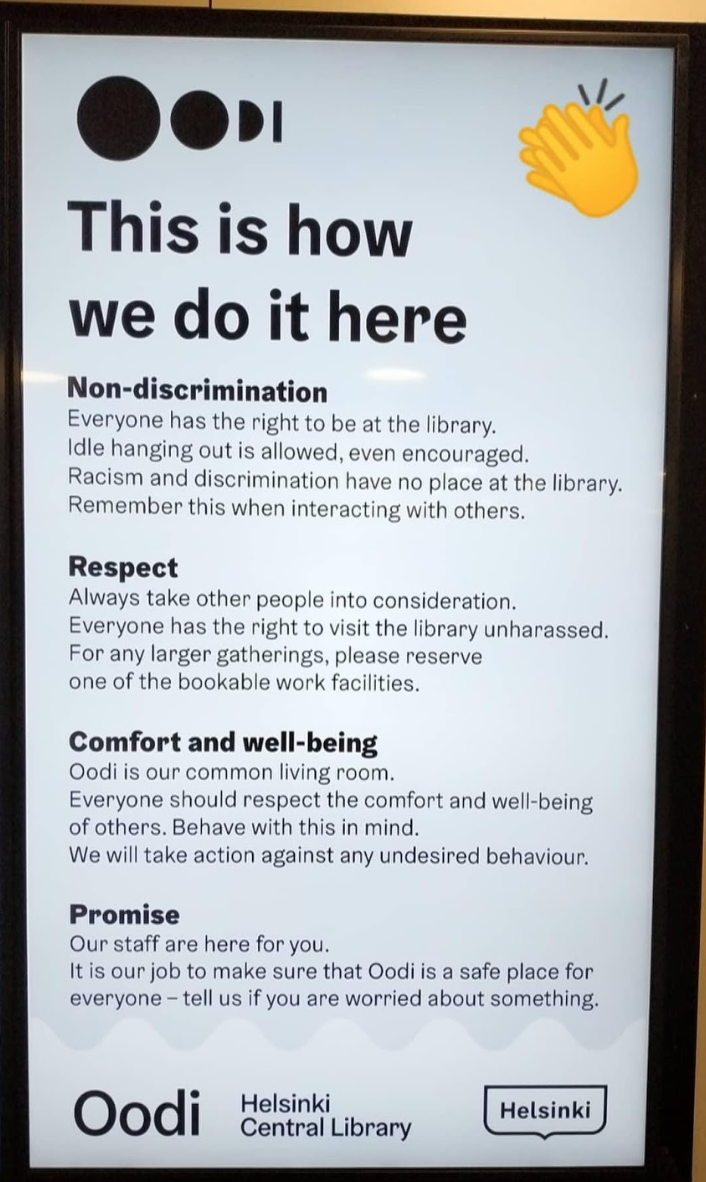 The rules of conduct of the Oodi Library