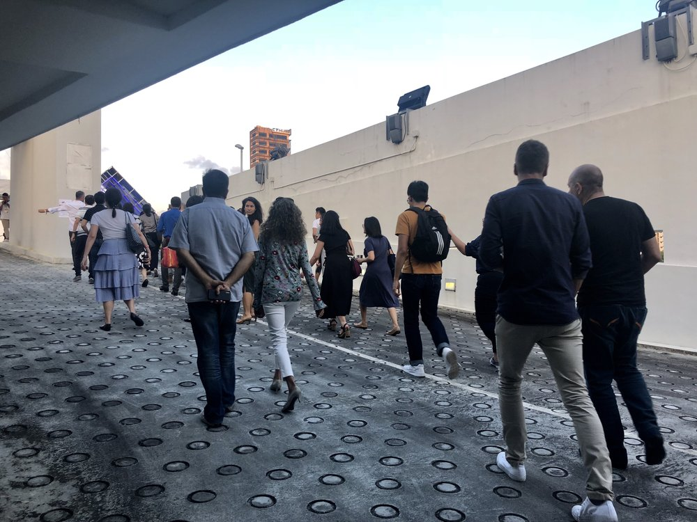 Guests head upstairs to the rooftop.