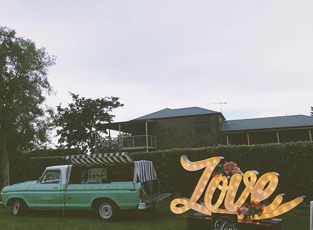 @jacksespresso rocking up to a wedding, what a fabulous idea. Teamed beautifully with the light we made for @thelovesign. . . . . . . . #lovesign #lovelight #biglove #wedding #weddingphotography #weddinglighting #lightingprops #propdesign #industrialdesign #fromageiscool #marqueelights