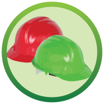 3 green and red coloured thinking caps