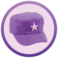 5 purple coloured thinking cap