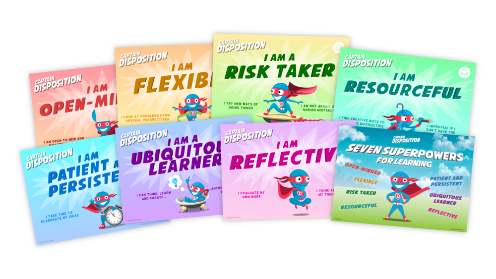 Captain Disposition - Meet Captain Disposition! A new superhero (and assistant teacher) who can motivate your primary-age pupils to use the seven superpowers for lifelong learning and problem solving.