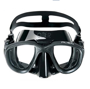 Omer Alien Mask @ S$60   Good entry level mask with wide field of vision with low volume. Excellent for underwater rugby and hockey Popular model. Freediving mask that can also be used for scuba.