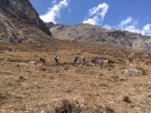 Trekking in Langtang near the village of Langtang Gumba.