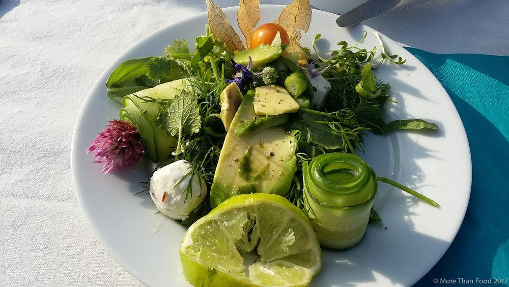 Zelfgeplukte kruidensalade met geitekaasbolletjes en eetbare bloemen