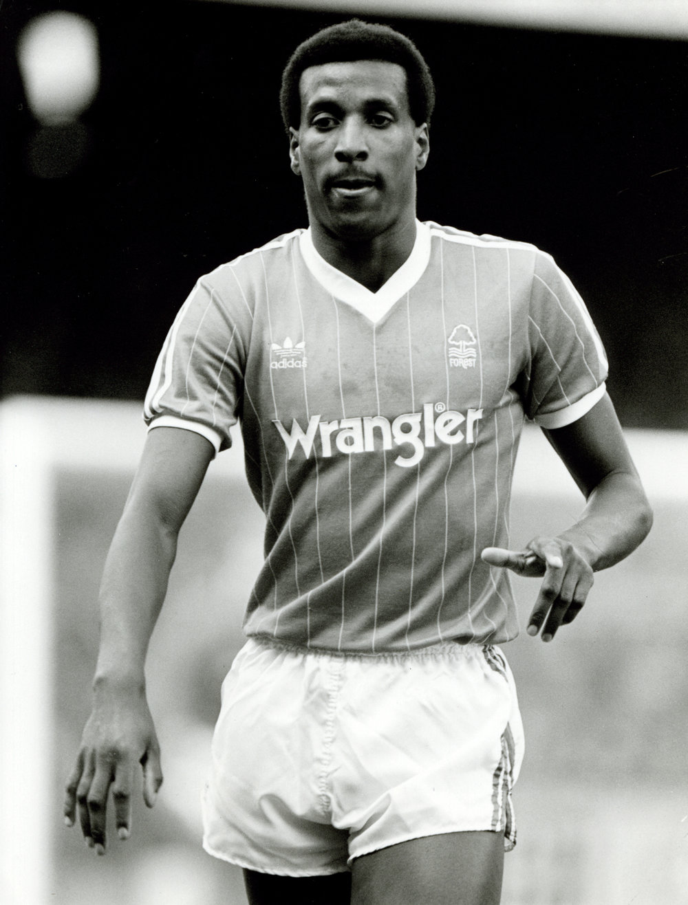 Viv Anderson, the first black footballer to play for England, in a Forest jersey. Image credit: Nottingham Post