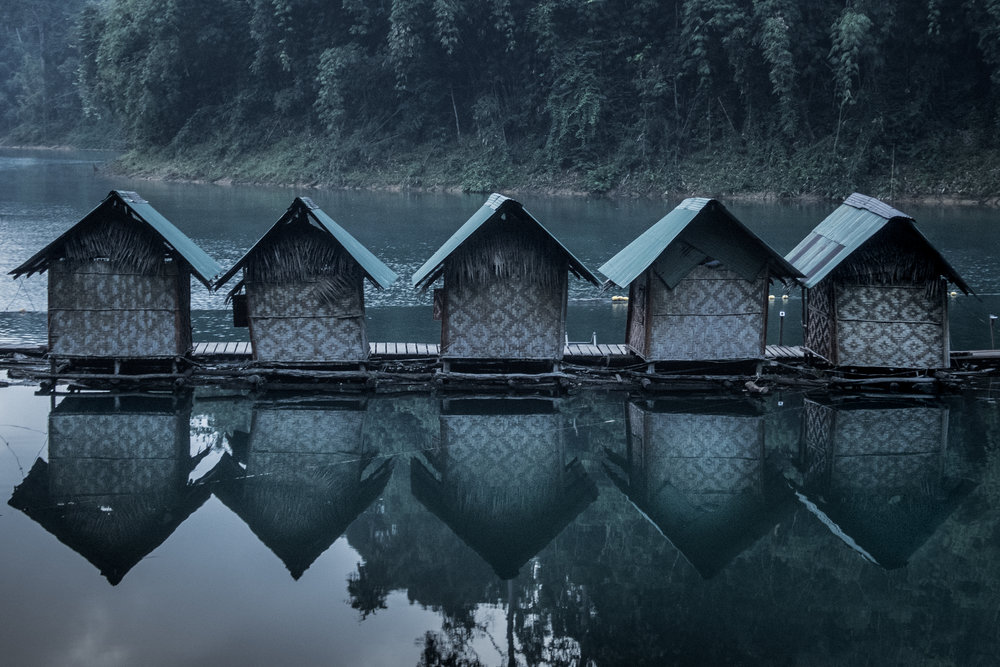 Bamboo cabins on the Cheow Lan Lake