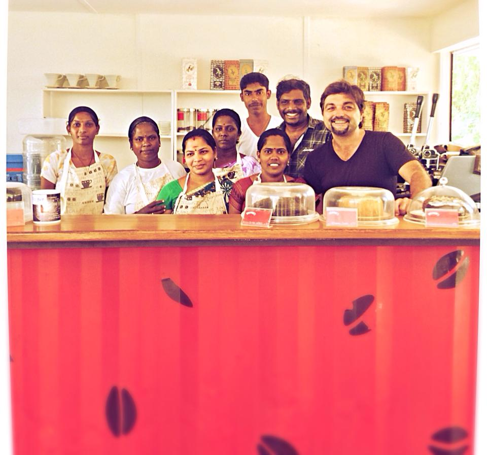 Marc and his team at Dreamers Cafe. Auroville, India.