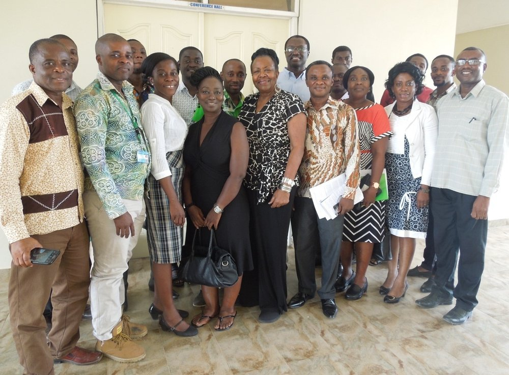 Grace Hampton with KNUST faculty after a presentation
