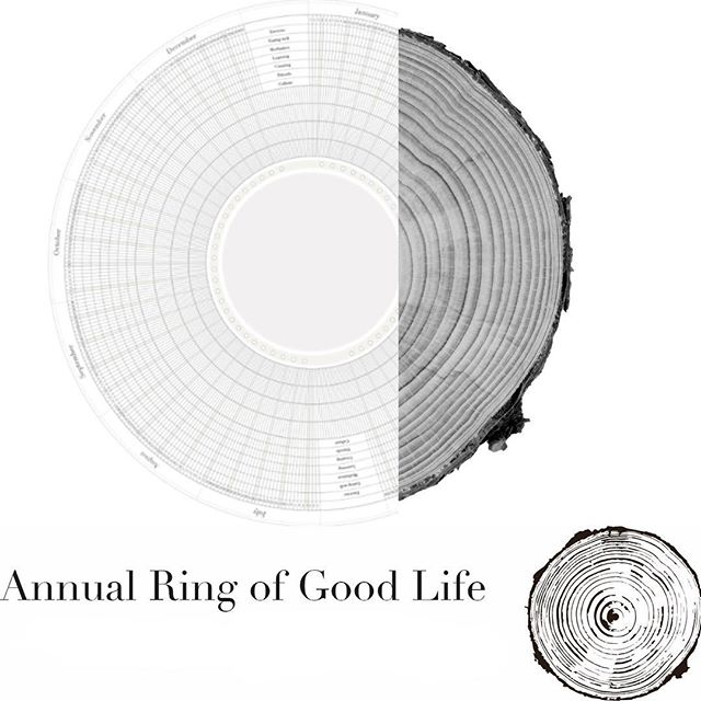 An annual ring of a tree as a reference to growth & development inspired us to design so called 'Circle of Life', a year of good habits -calendar. Use visuals to structure your goals & maintain habits important to you. #nanohabits #calendar #goodhabits #powerofvisualization #yearlyplanner #habitdesignagency