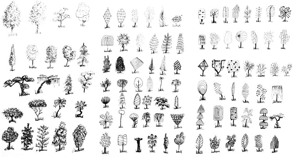 Oma Nanohabit-piirrustusprojektini vuosien takaa: yksi puu päivässä 100 päivän ajan.