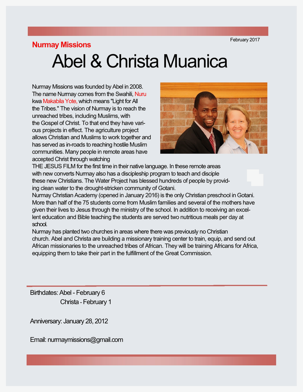 Abel and Christa Muanica