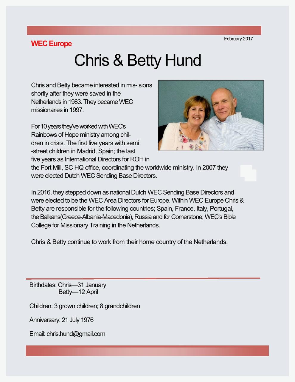 Chris and Betty Hund