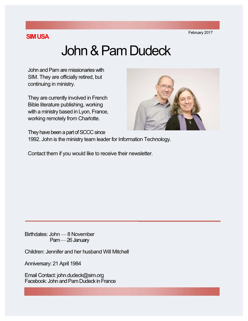 John and Pam Dudeck