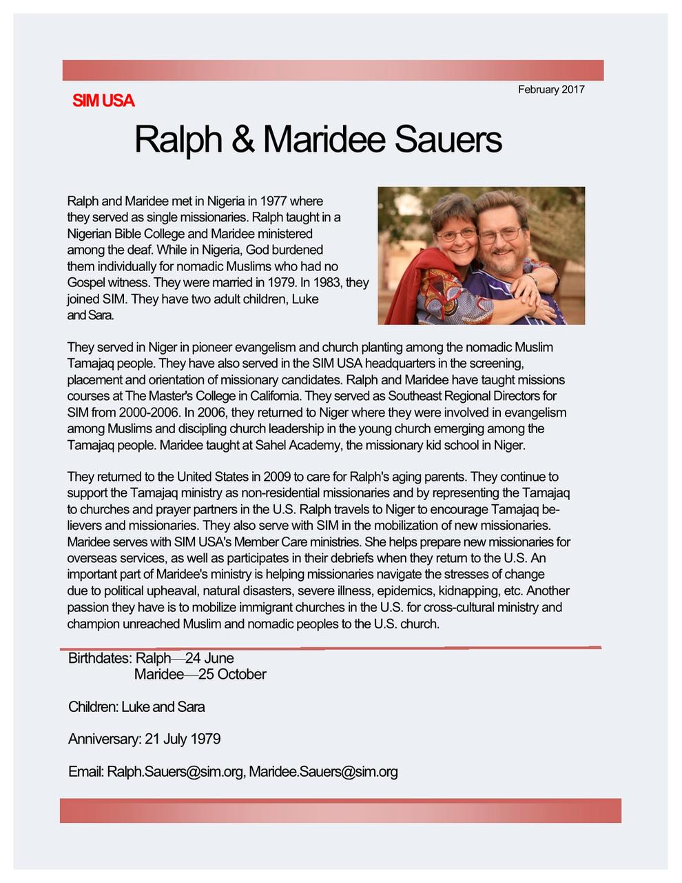 Ralph and Maridee Sauers